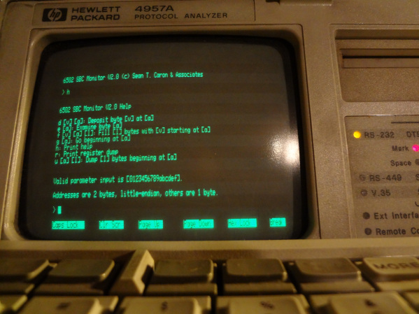 [6502 SBC Console TTY with Monitor]